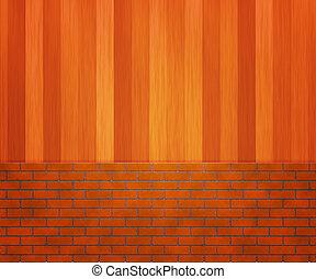 mur bois, brique
