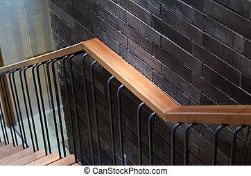 mur bois, brique, rampe
