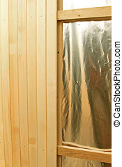 mur bois, construction, sauna