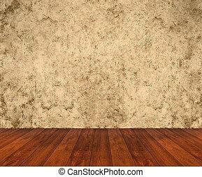 mur bois, grunge, plancher