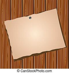 mur bois, papier