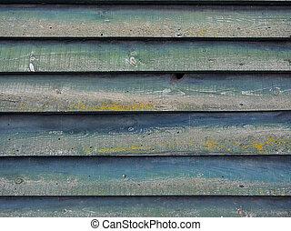 mur, bois, partie, vert, horizontal, planches, grange