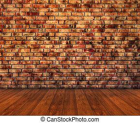 mur bois, plancher brique