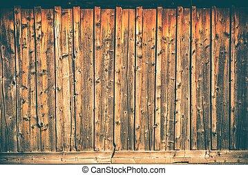 mur, bois, planches, fond