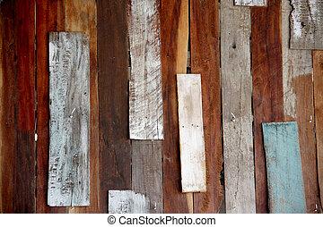 mur, bois, vieux, désorganisé