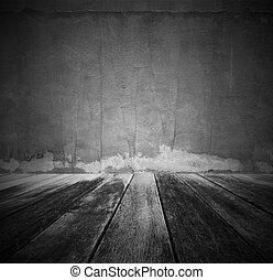 mur bois, vieux, grunge, plancher