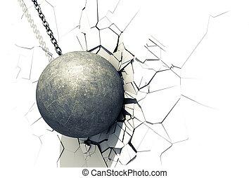 mur, boule blanche, démolir, briser