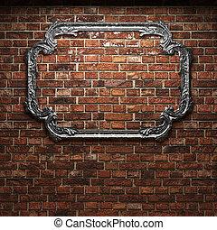 mur, brique, éclairé, cadre