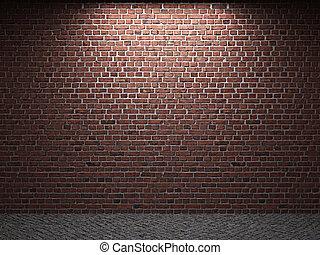 mur, brique, éclairé