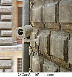 mur, brique, appareil photo, surveillance