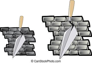 mur, brique, chalut