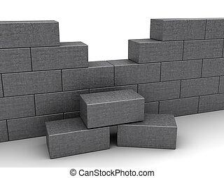 mur, brique concrète