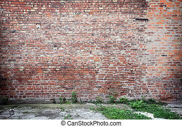 mur, brique concrète, plancher