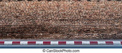 mur, brique concrète, vieux, trottoir