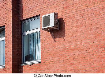 mur, brique, conditionnement, air