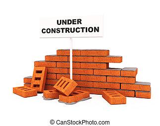 mur, brique, construction, sous