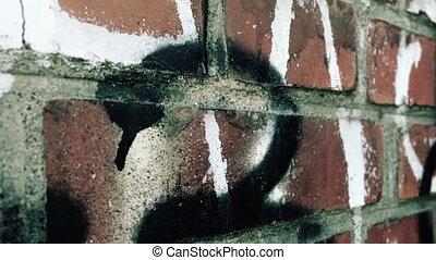 mur, brique, coup, chariot