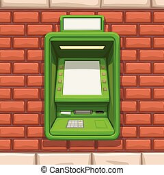mur, brique, distributeur billets banque, rouge vert