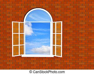 mur, brique, fenêtre