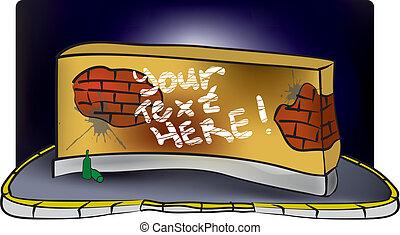 mur, brique, graffiti, sale
