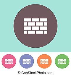 mur, brique, icône