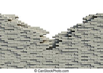 mur, brique, incomplet