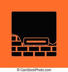 mur, brique, plâtré, icône