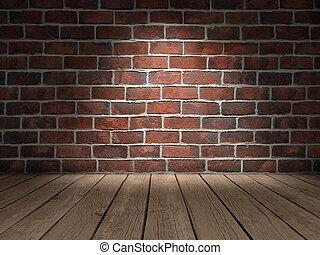 mur, brique, plancher bois