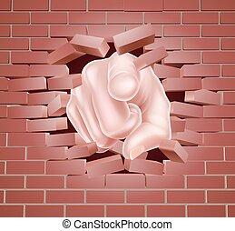 mur brique, pointage, rouges, main, rupture