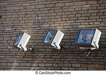 mur, brique, projecteurs, trois