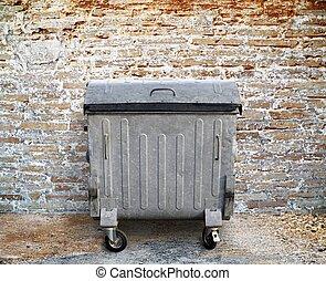 mur, brique, récipient, déchets