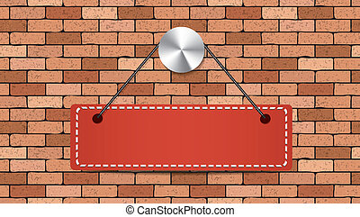 mur, brique, rouges, tenue, étiquette