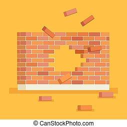 mur, brique, rupture, trou