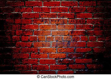 mur, brique, texture, fond, rouges