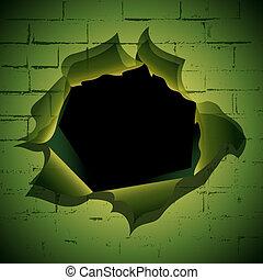 mur, brique, trou