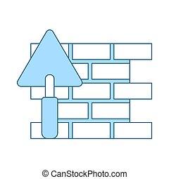 mur brique, truelle, icône