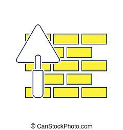 mur, brique, truelle, icône
