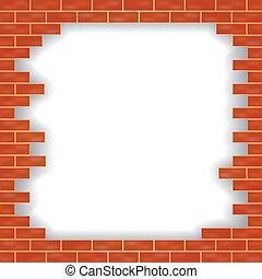mur, brique, vecteur, endommagé