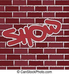 mur, brique, vecteur, graffiti, fond