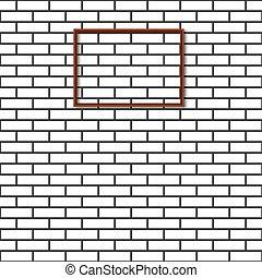 mur, brique, vecteur, illustration., cadre