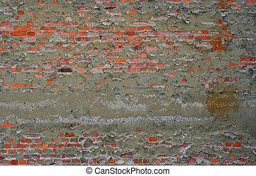mur, brique, vieilli