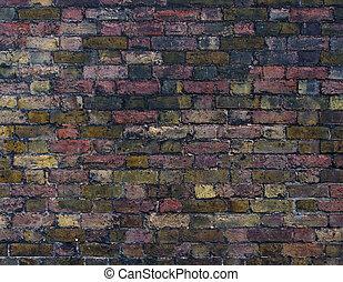 mur, brique, vieux, coloré