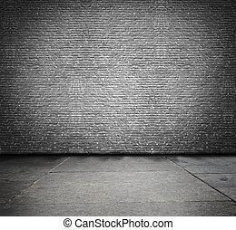 mur, brique, vieux, salle