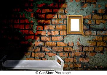 mur, cadre graphique, vieux, brique