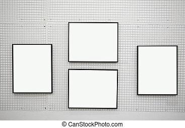mur, cadres, blanc, noir