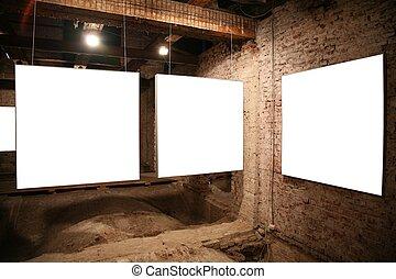 mur, cadres, brique blanche