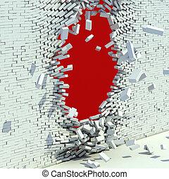 mur, cassé, brique, -, destruction