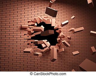 mur, cassé, brique