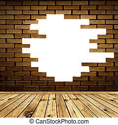 mur, cassé, brique, salle