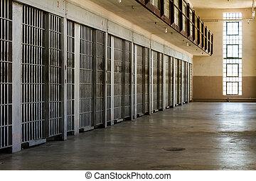 mur, cellules, haut, prison, revêtu